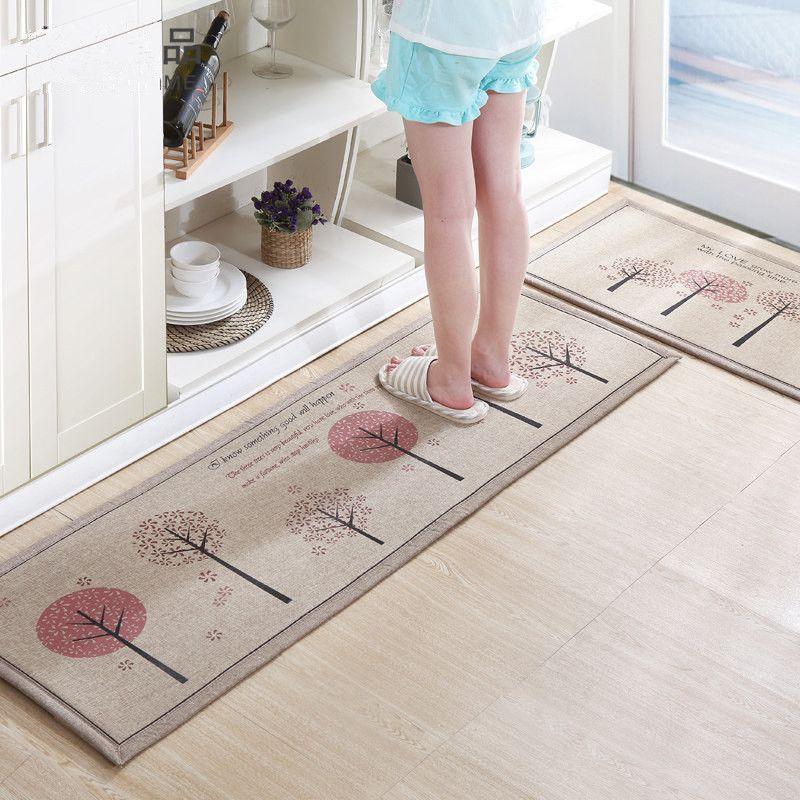 50X80+50X160CM/Set Linen Kitchen Mat Home Entrance/Hallway Doormat Anti-Slip Bathroom Carpet Absorb Water Kitchen Carpet/Rug