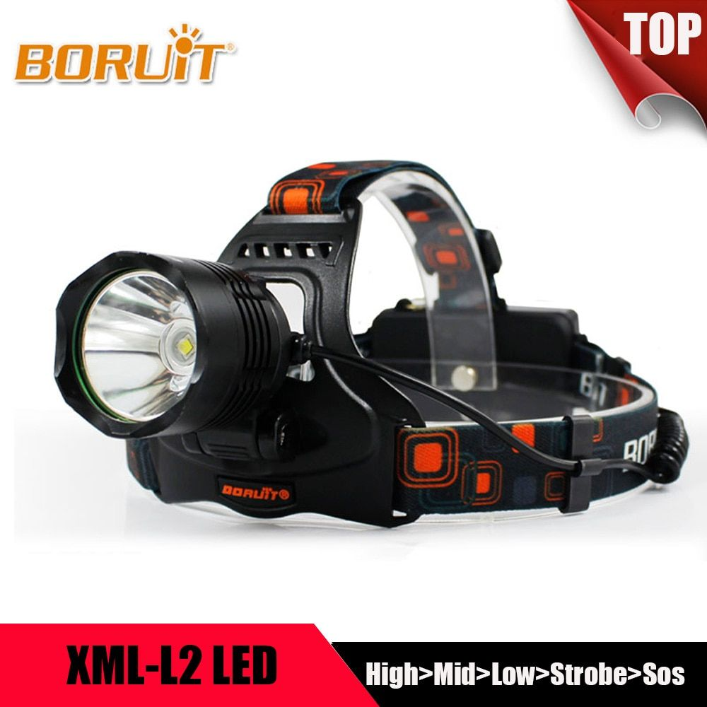 <font><b>BORUIT</b></font> Multifunction 5 Modes XML L2 LED Headlight Headlamp Power Bank Head Lantern Forehead Flashlight Torch 18650 For Camping