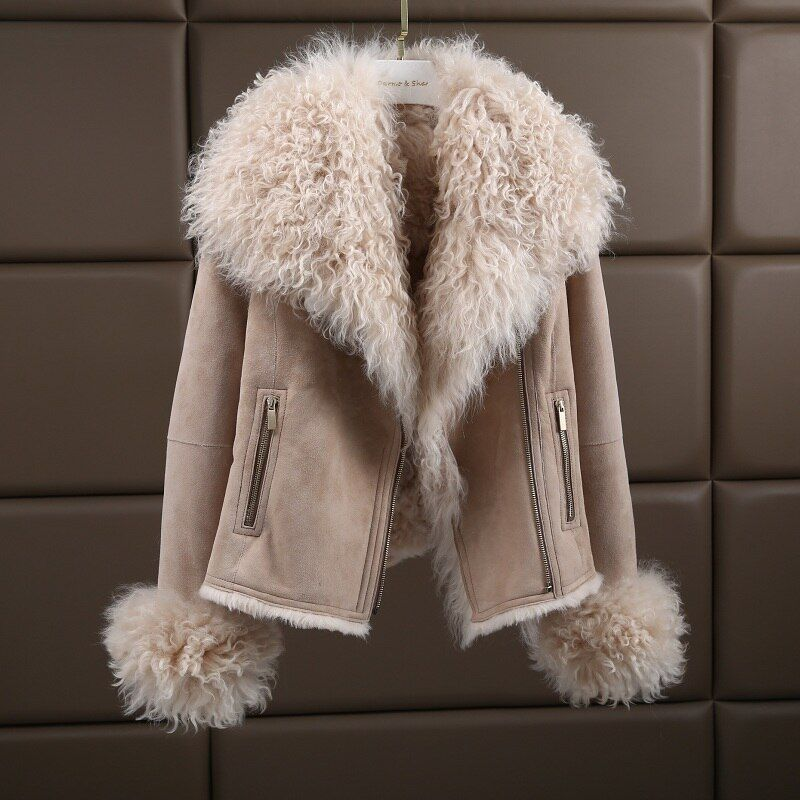 Luxury Warm Genuine Sheepskin Natural Lamb Fur Coat Suede Jacket Thick Fur The Coat For Women Plus Size 180423-1