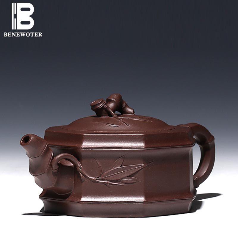 400ml Ore Purple Clay Tea Pot Bamboo Festival Teapot with 9 Holes High Capacity Handmade Yixing Teapot Kung Fu Tea Set Drinkware