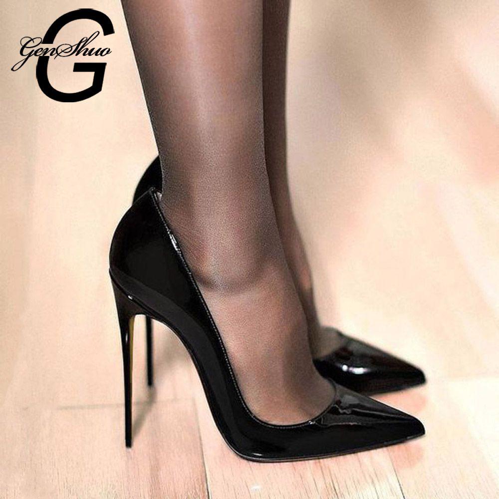 GENSHUO femmes pompes marque talons hauts en cuir verni noir bout pointu Sexy chaussures à talons aiguilles femme Plus grande taille 11 12