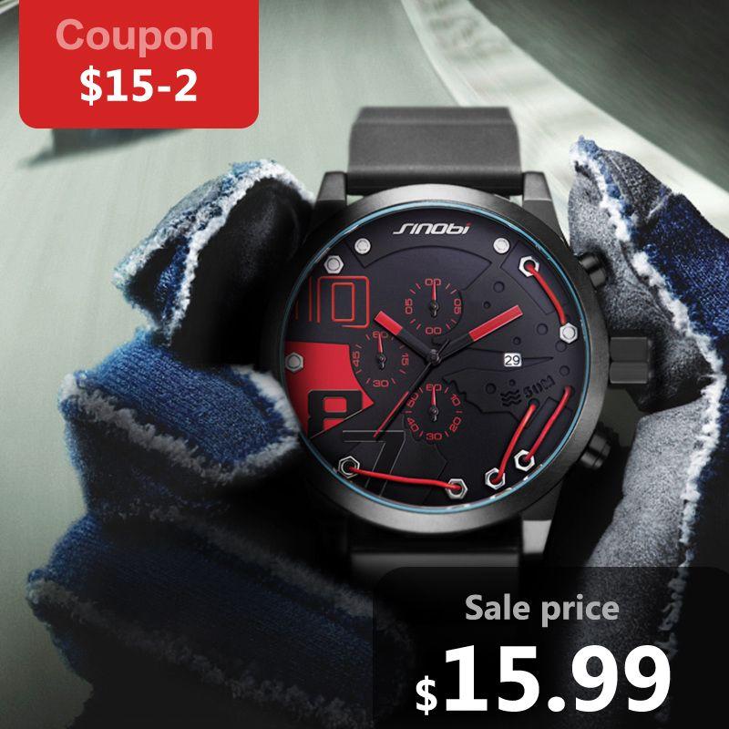 SINOBI Hombres Sport Chronograph Reloj de Silicona Resistente Al Agua Superior Marca de Alambre De Metal de Moda de Lujo de Los Hombres Ocasionales de Cuarzo Relogio masculino