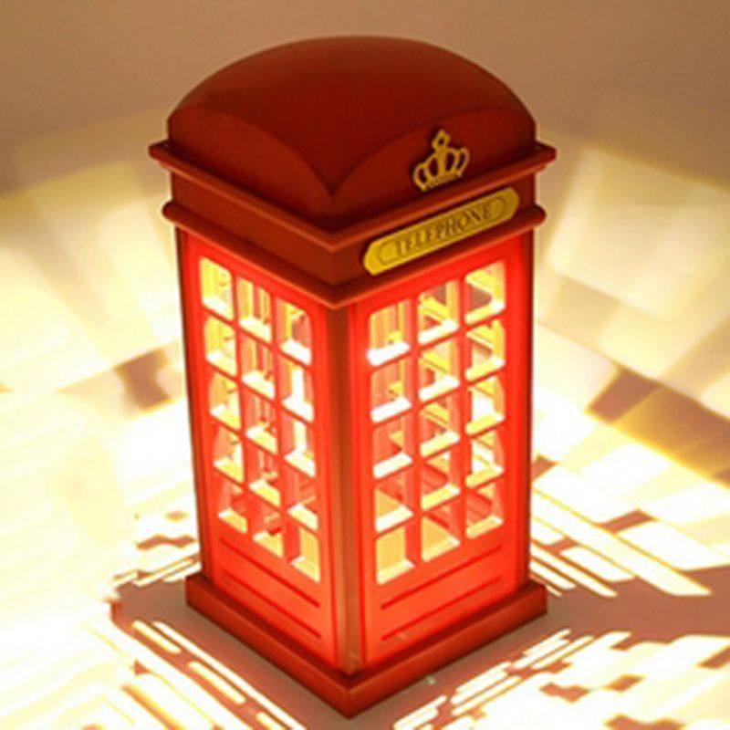 Hot Sale Adjustable Retro London Telephone Booth Red Night Light USB Battery Dual-Use LED Table Lamp for New Year Gift