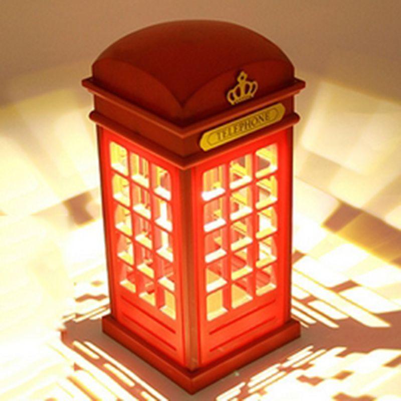 Offre spéciale réglable rétro London cabine téléphonique rouge veilleuse USB batterie double usage LED lampe de Table pour cadeau du nouvel an