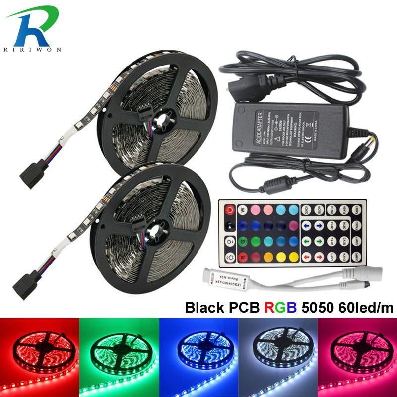 10M Full Set black PCB LED Strip Super Bright 60leds/m SMD5050 led strips light Flexible 5M/roll tape DC 12V non waterproof tape