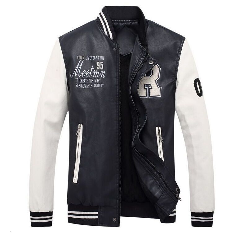 Men's casual baseball jacket 2018 autumn and winter plus velvet thick warm embroidery high quality brand clothing leather jacket