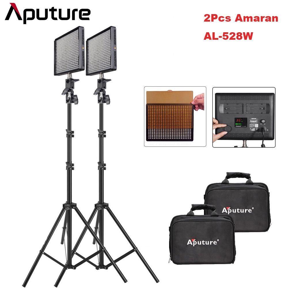 2 teile/los Aputure Amaran AL-528W CRI95 + 528 stücke LED Video Fotografische Beleuchtung Kit mit 2 mt Licht Stehen für DSLR Kamera