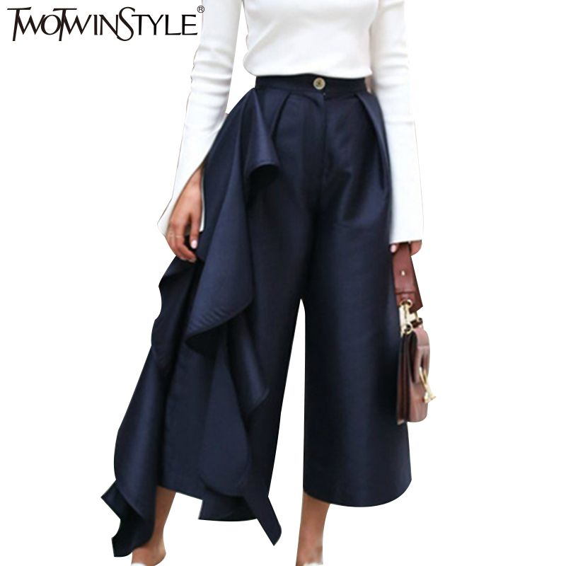 TWOTWINSTYLE Ruffle Trousers for Women High Waist <font><b>Wide</b></font> Leg Pants Female Casual Palazzo Bottoms Large Sizes Clothes Korean Autumn