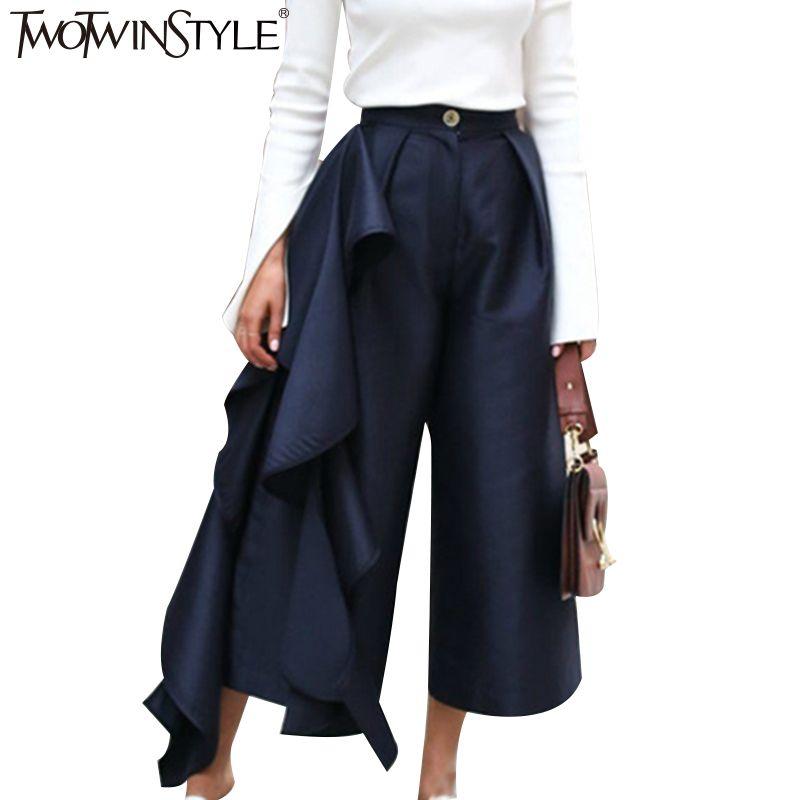 Twotwinstyle рюшами Мотобрюки для Для женщин Высокая Талия Широкие брюки женские Повседневное Palazzo Низ больших размеров одежды корейской осенью