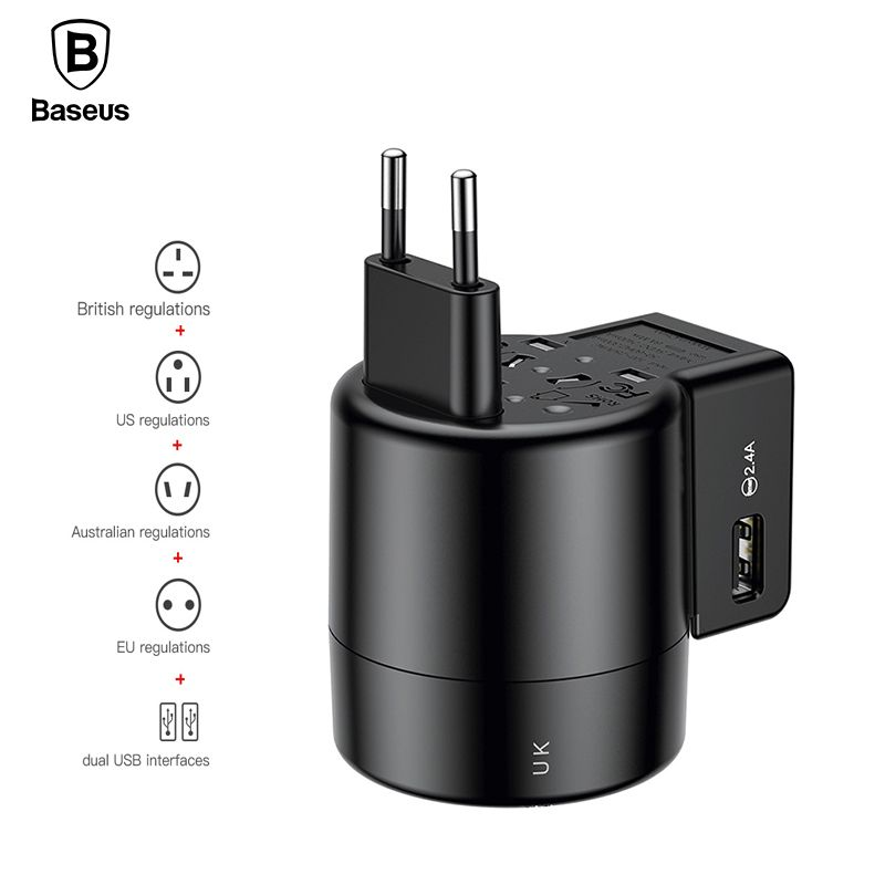 Baseus Universal USB Charger For iPhone X 8 Samsung S9 S8 Travel Wall Dual USB Adapter Chargeur USB Portable 2.4A <font><b>Phone</b></font> Charger