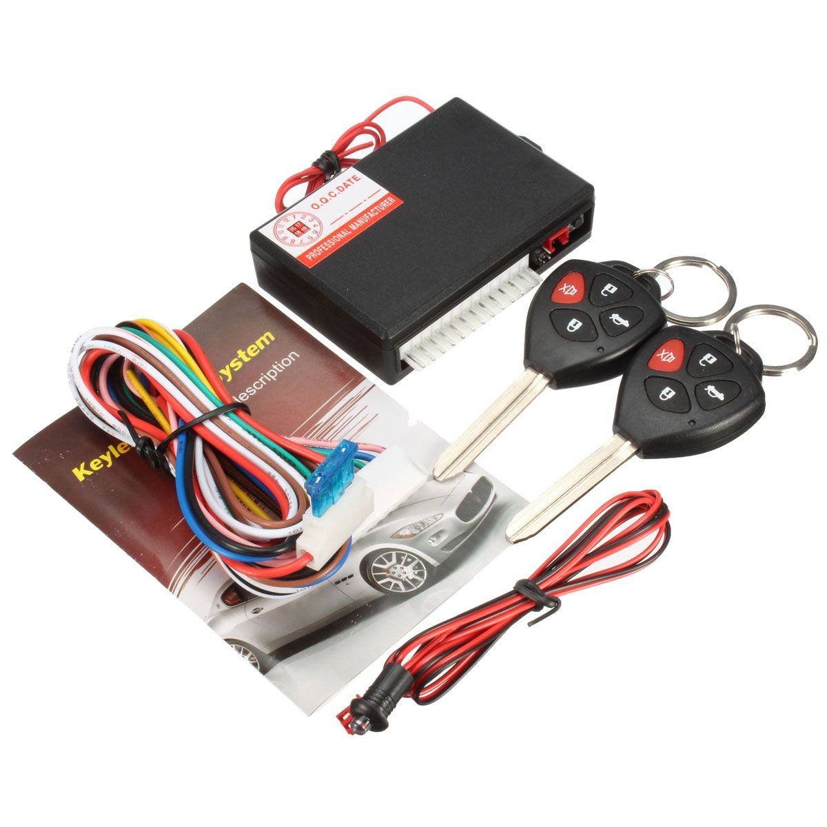 Lowest Price Black 12V Car Vehicle Burglar Alarm Keyless Lock Entry Security System For Toyota 2 Remote