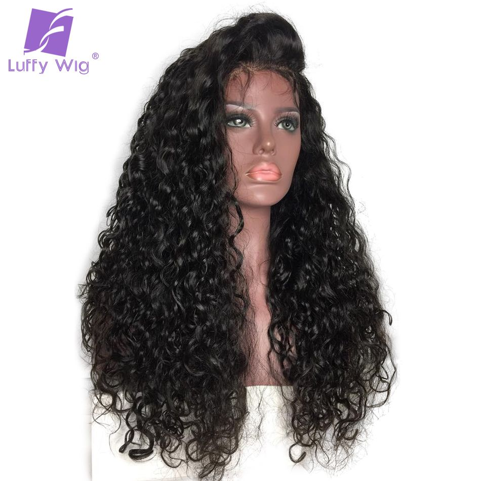 LUFFY 13x6 Deep Part Pre Plucked Curly Lace Front Human Hair Wigs With Baby Hair For Women Indian Non Remy Hair 130% Density