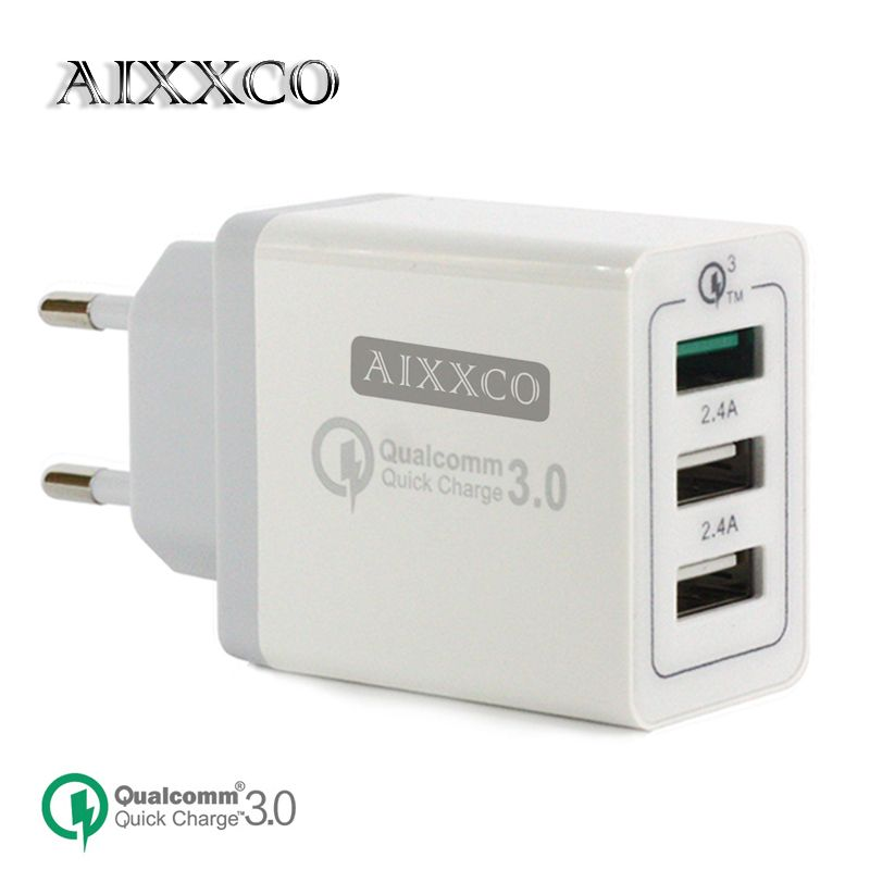 AIXXCO 3 Ports Chargeur Rapide QC 3.0 30 w USB Chargeur Pour iphone 7 8 ipad Samsung S8 Huawei Xiaomi Rapide chargeur QC3.0 UE/US Plug
