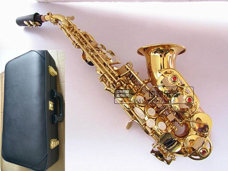 Top B flat sax small Saxophone Soprano curved Sax adult children wind musical instruments free delivery Soprano Sax Hard box