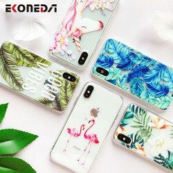 EKONEDA Silicone Case For iPhone 7 7Plus 6 6S 6Plus 5 5S SE Case Soft TPU Cover Flower Leaves Bird For iPhone 6S 8 Plus X XS Max
