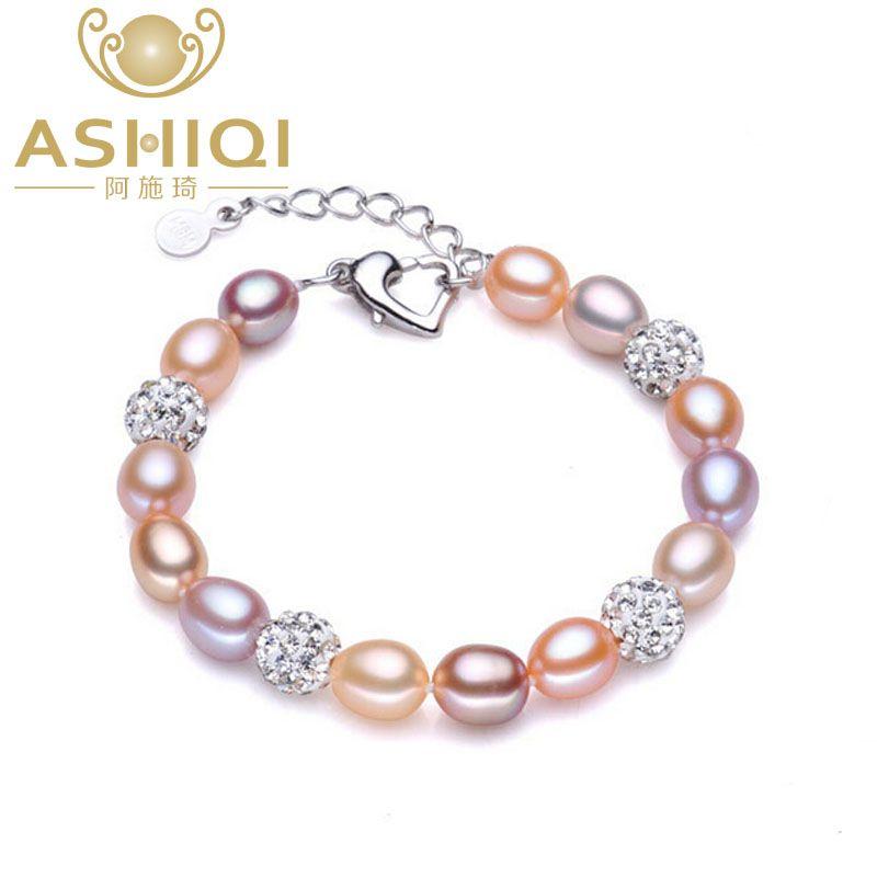 ASHIQI vrai Bracelet de perles naturelles pour les femmes perles d'eau douce bijoux à la main bracelets de boule de cristal cadeau