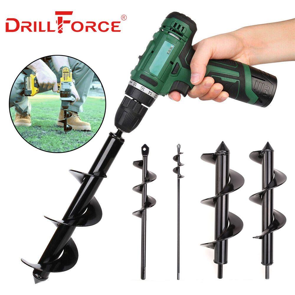 Drillforce Garden Planter Spiral Drill Bit Flower Bulb Hex Shaft Auger Yard Gardening Bedding Planting Post Hole Digger Tools