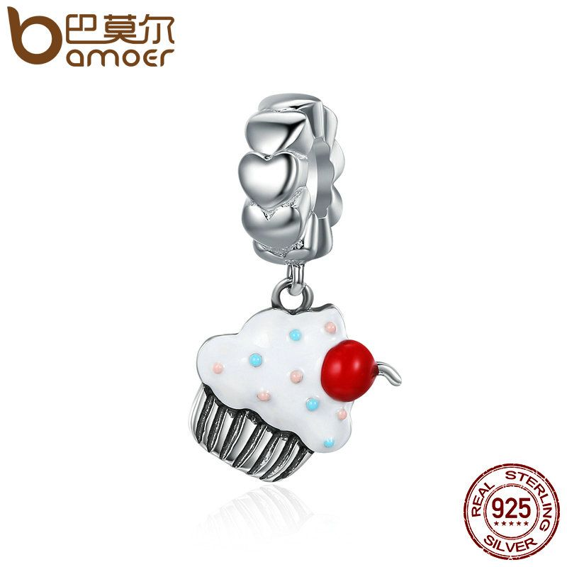 BAMOER Hot Sale 925 Sterling Silver Sweet Cherry Cream Cupcake Pendant Charms fit Women Charm Bracelets Fine Jewelry SCC350