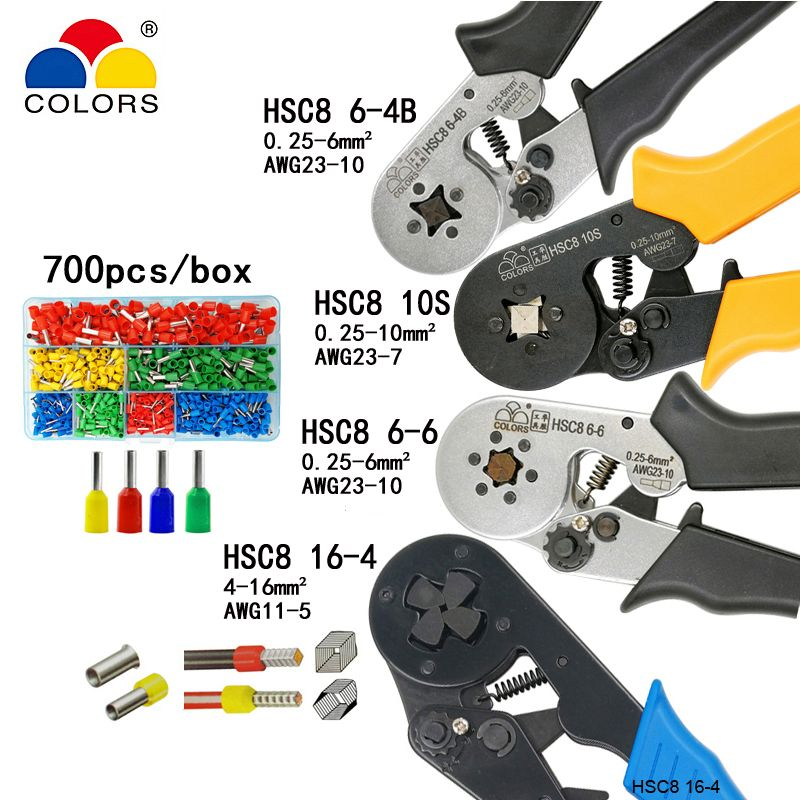 HSC8 10S 0.25-10mm2 23-7AWG HSC8 6-4B/6-6 0.25-6mm2 HSC8 16-4 crimping pliers electric tube terminals box mini brand clamp tools