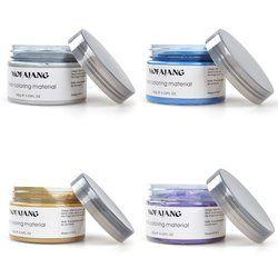 mofajang 7 Colors Disposable Hair color wax dye one-time molding paste BLUE Burgundy grandma gray green hair dye wax