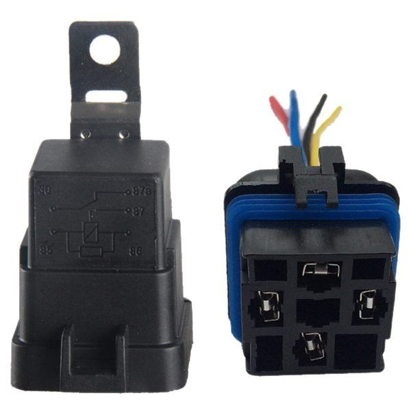 40 Amp Waterproof Relay Switch Harness Set - 12V DC 5-Pin SPDT Automotive Relays 12 AWG Hot Wires