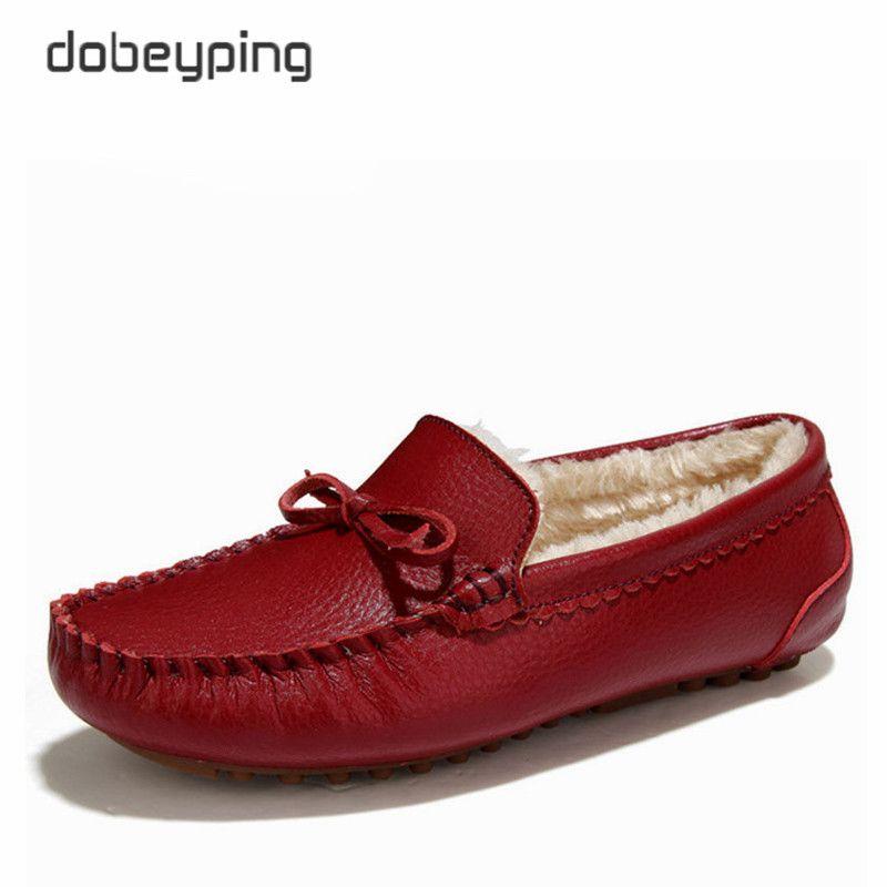 Hiver fourrure femmes mocassins sans lacet en cuir chaussures plates pour femme chaud en peluche conduite bateau chaussures femme mocassins nouvelle décontracté femme solide chaussure