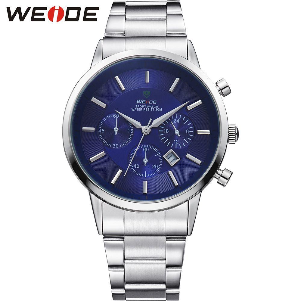 Weide alta calidad superior de lujo marca de negocios simple acero inoxidable esfera azul y correa hombres reloj de cuarzo reloj hombre reloj