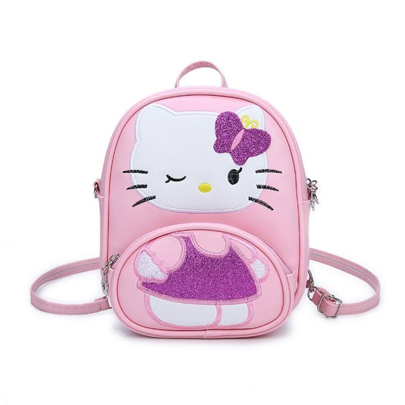 New Children Mini Messenger Bag Fashion Cartoon Kitty Girls Party Handbags Kids Pu Leather Crossbody Shoulder Bag Handbags
