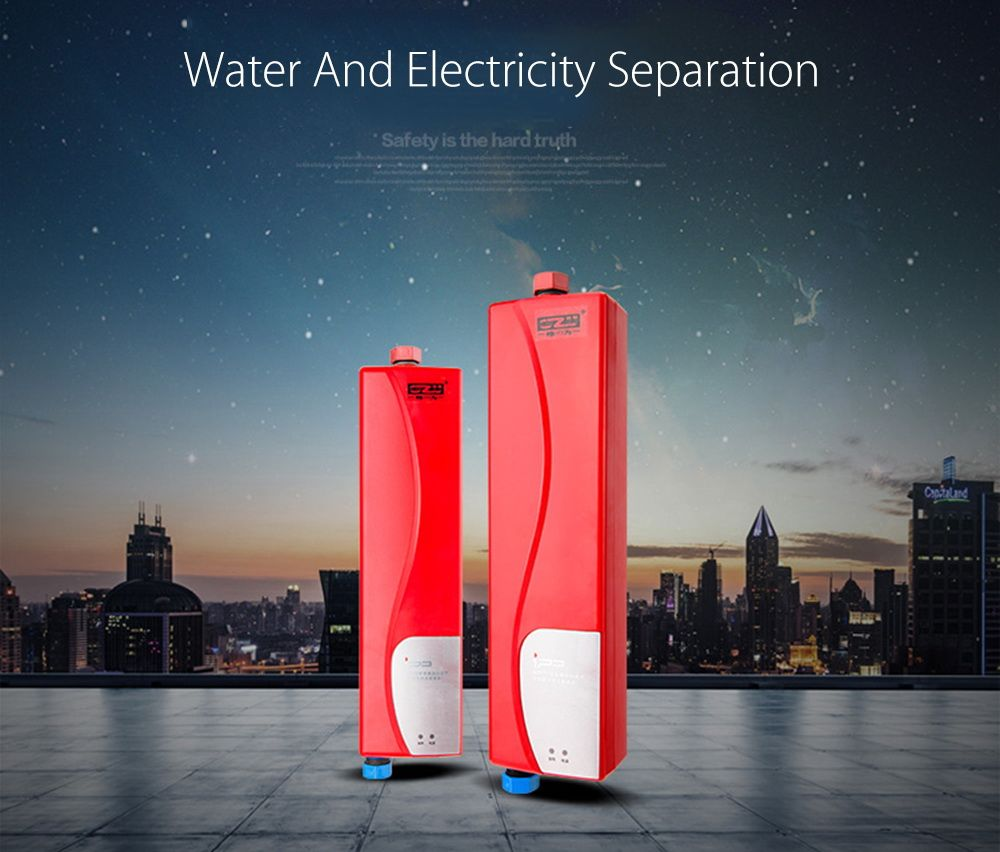 Household Tankless Water Heater Instant Shower Electric Water Heater for Kitchen Bathroom with Double Shell Water Heater Faucet