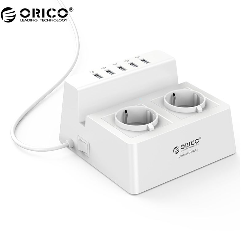 ORICO ODC-2A5U-V1 Smart Charging Desktop Charger with 2 AC Outlets and 5 USB Ports for <font><b>Phones</b></font>,iPhone 7,Tablets and Desktops