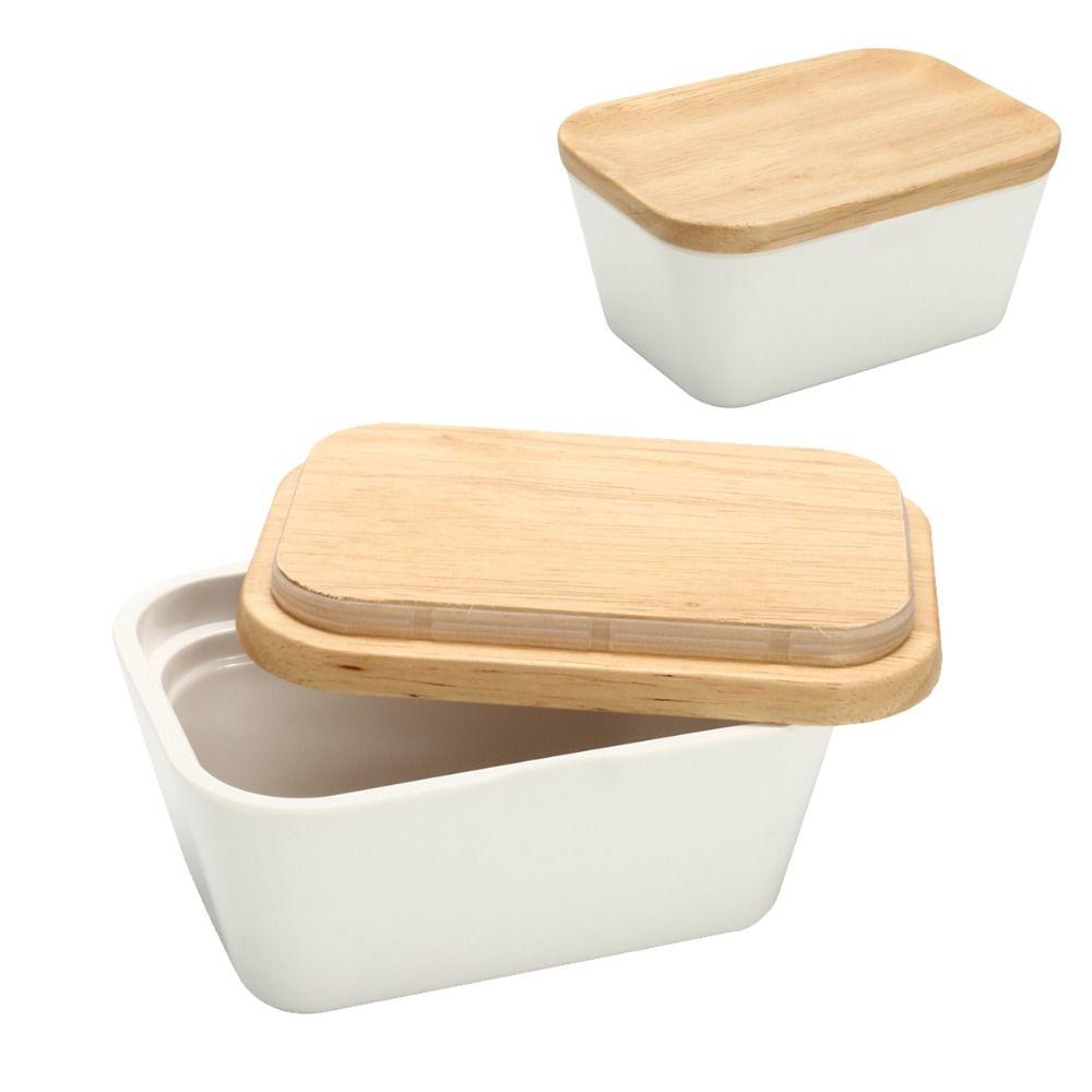 Käse Butter Box Geschirr mit Deckel 250/500 ml Lagerung Inhaber Container Hotel Küche Werkzeuge Geschirr Holz Melamin Portion box