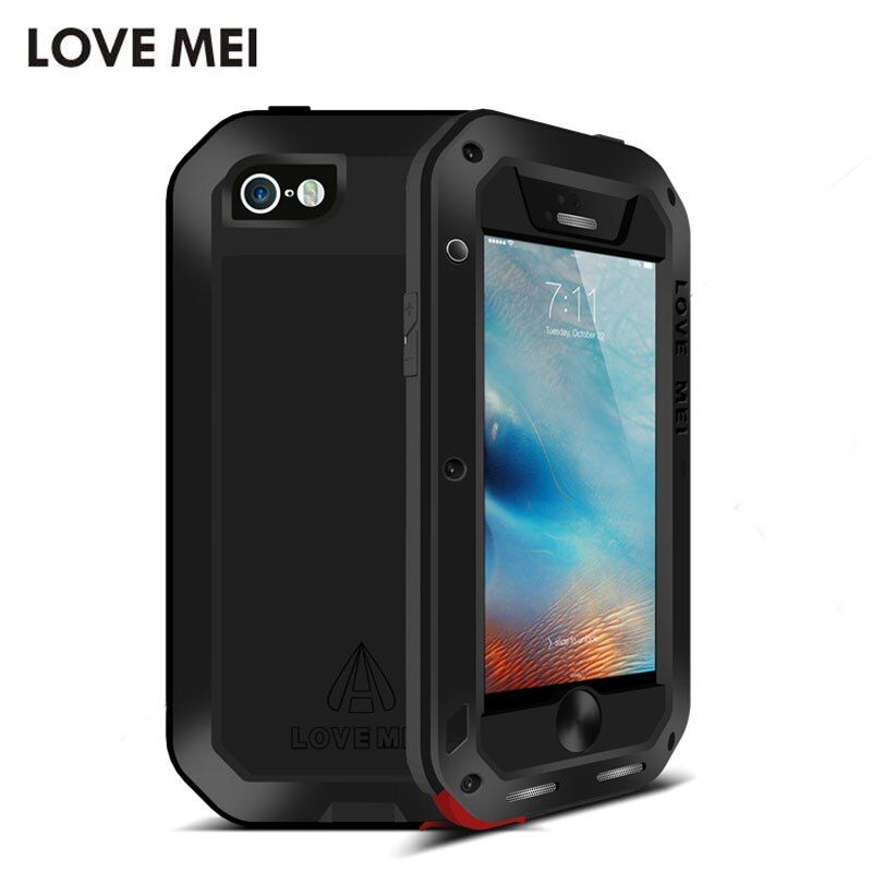 Original Love Mei Shockproof Dustproof Powerful Aluminum Metal Case for iPhone 5 5S SE Protective Case with Gorilla Glass