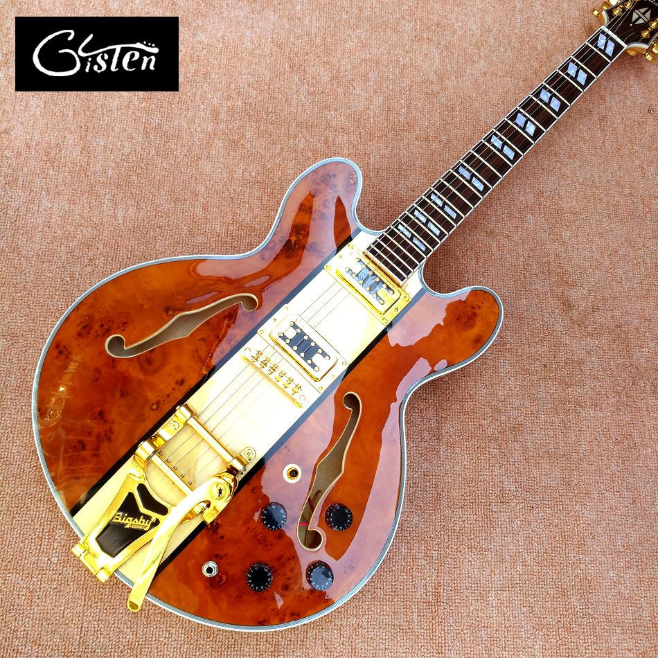 New highquality hollow body jazz 335 electric guitar, Maple top gold hardware electric guitar with Tremolo system, free shipping