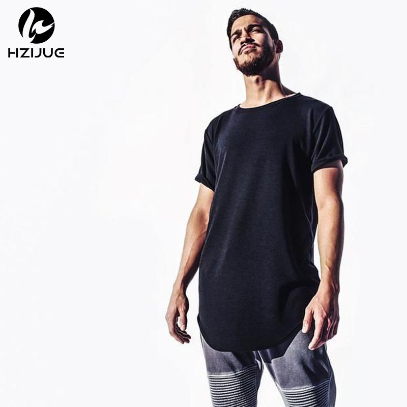 HZIJUE chaud 2017 pur t-shirt en gros prolongé long t-shirt hommes hip hop nouveau design rue hommes pas cher Eur taille hip hop t-shirts