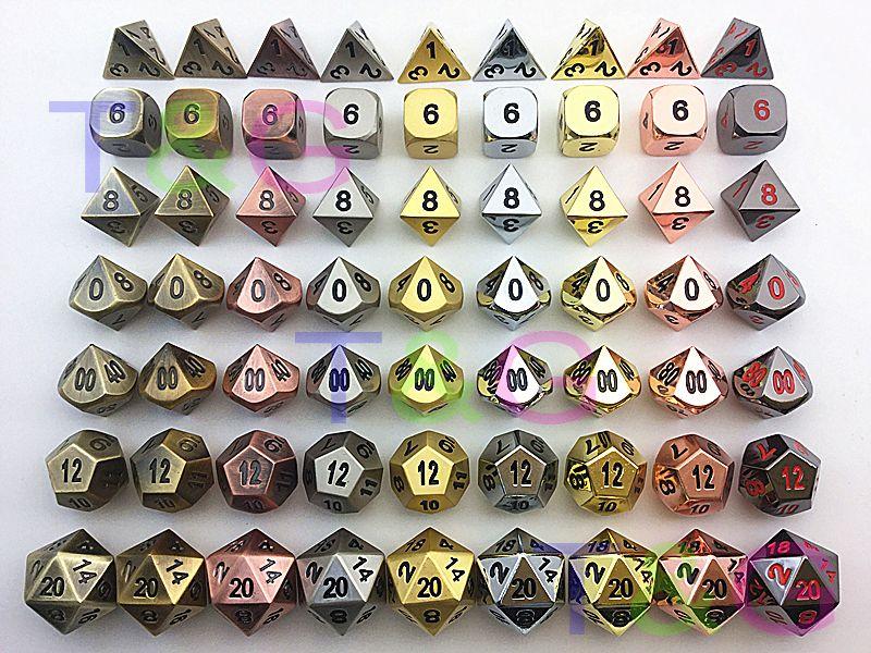 TOP Quality NEW Metal 7 Dice set d4 d6 d8 d10 d% d12 d20 for Board Game Rpg Dados juegos de mesa dungeons & dragon dice