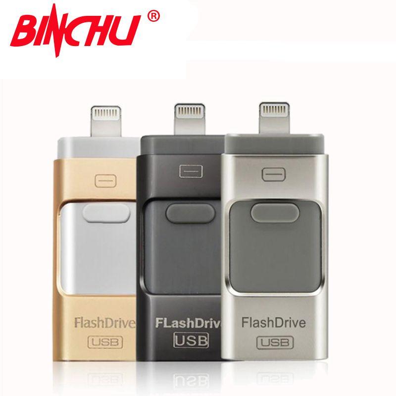 Binch для IOS usb флеш-накопитель для Iphone USB OTG 8 ГБ накопитель 32 ГБ USB флешки для iPhone 7 6 5 5S Lightning 16 ГБ 64 ГБ