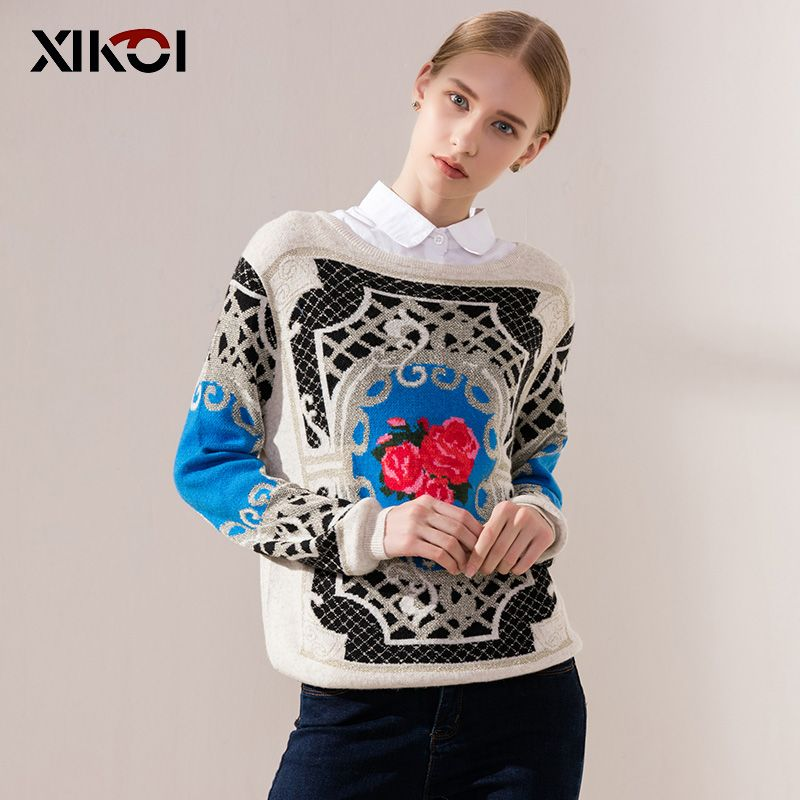 XIKOI Women Spring Casual Sweater Print O-Neck Woman Sweaters <font><b>Clothes</b></font> Pullovers Long Sleeve Casual Female Clothing Tops Poncho