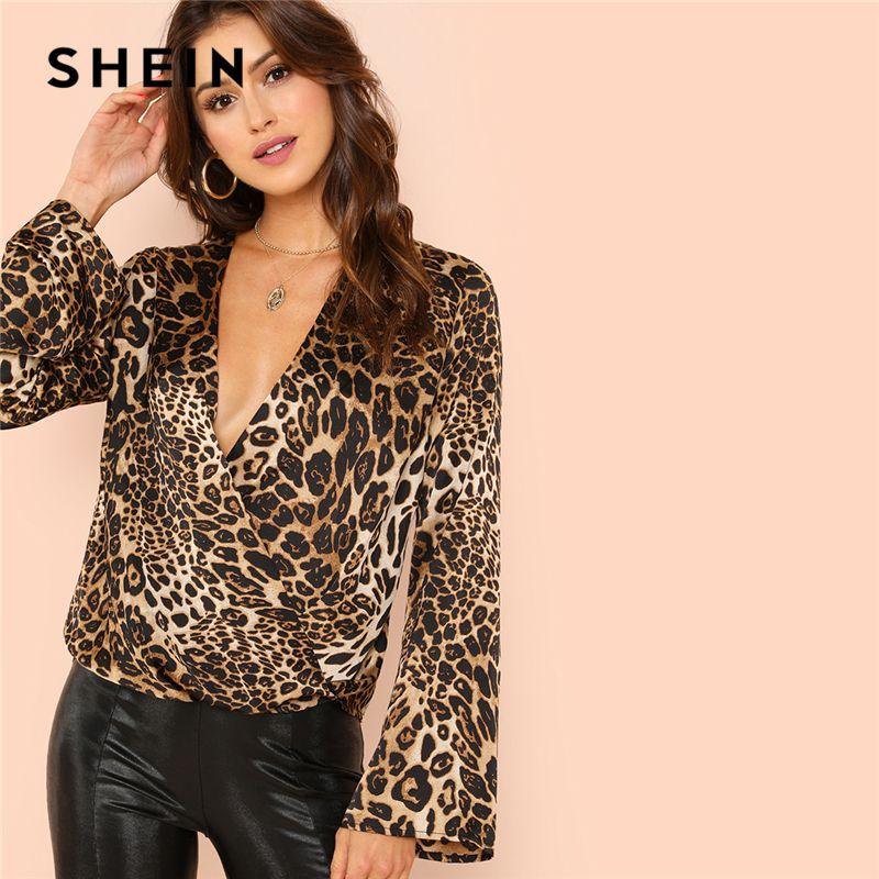SHEIN Flounce Sleeve Surplice Wrap Top Multicolor Leopard Deep V Neck Ruffle Blouse Women Autumn Casual Pullovers Blouses