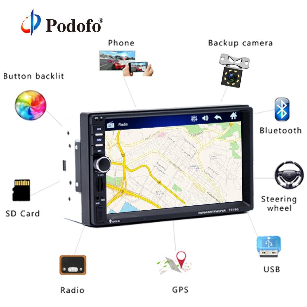 Podofo 2din Car Multimedia Player GPS Navigaiton Camera Map 7'' HD Touch Screen Bluetooth Autoradio 7018G MP3 MP5 Player