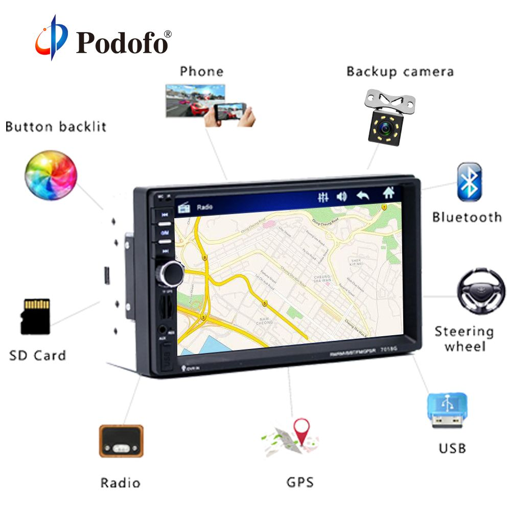 Podofo <font><b>2din</b></font> Car Multimedia Player GPS Navigaiton Camera Map 7'' HD Touch Screen Bluetooth Autoradio 7018G MP3 MP5 Player