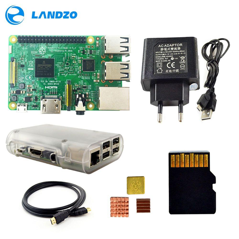 Raspberry Pi 3 Modèle B Starter Kit avec Pi 3 Conseil + 16G carte mémoire + câble HDMI + Puissance UE + Dissipateurs + Transparent Raspberry pi 3 cas
