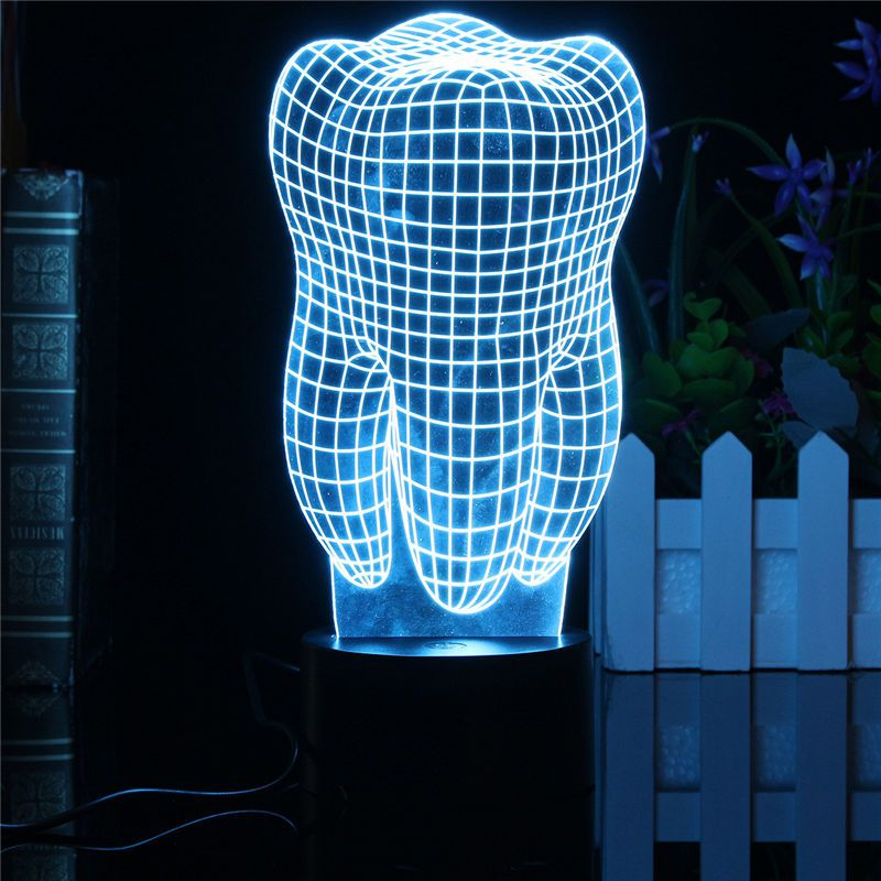 0.5 W Diente 3D LED RGB Táctil Interruptor 7 de Color de Carga Luz de la noche lámpara de Mesa Lámpara de Cabecera Decoración Luz de Navidad Regalos 5 V