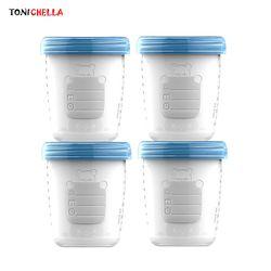 4 Buah/Asi Bayi Susu Botol Penyimpanan Koleksi Bayi Bayi Makanan Freezer Wadah Bpa Gratis Produk Biru 180 Ml t0393