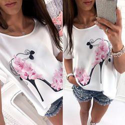 2018 mujeres de manga corta tacones altos impreso Tops Beach Casual blusa Top Shirt