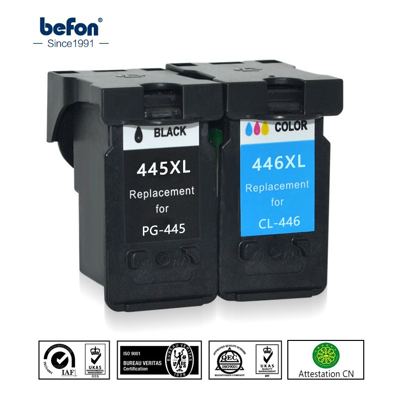befon Re-Manufactured 445 446 XL Ink Cartridge Replacement for Canon PG-445 CL-446 PG445 CL446 for ip2840 MG2440 2540 2940 494
