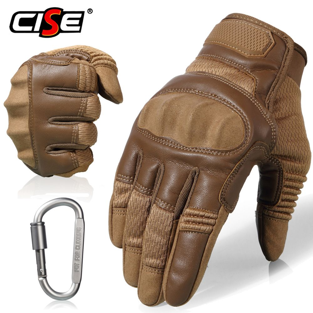 Touchscreen Leather Motorcycle Skidproof Hard Knuckle Full Finger Gloves Protective Gear for Outdoor Sports Racing Motocross ATV