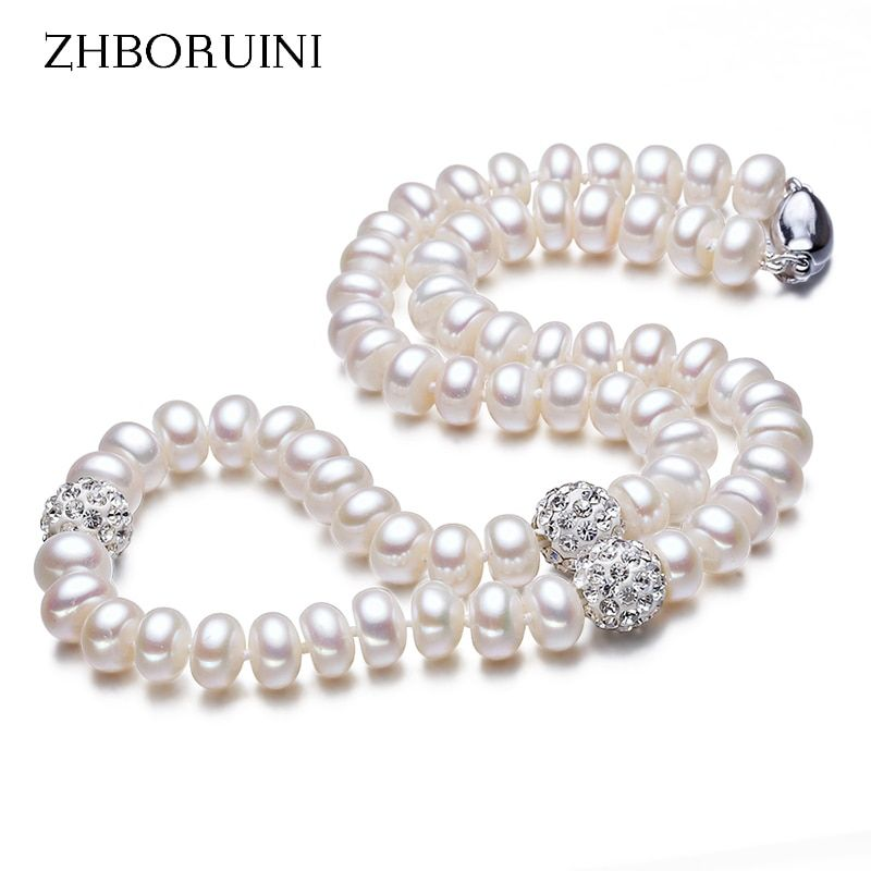 ZHBORUINI 2019 collier de perles 925 bijoux en argent Sterling pour les femmes 8-9mm boule de cristal perles d'eau douce naturelles bijoux de perles