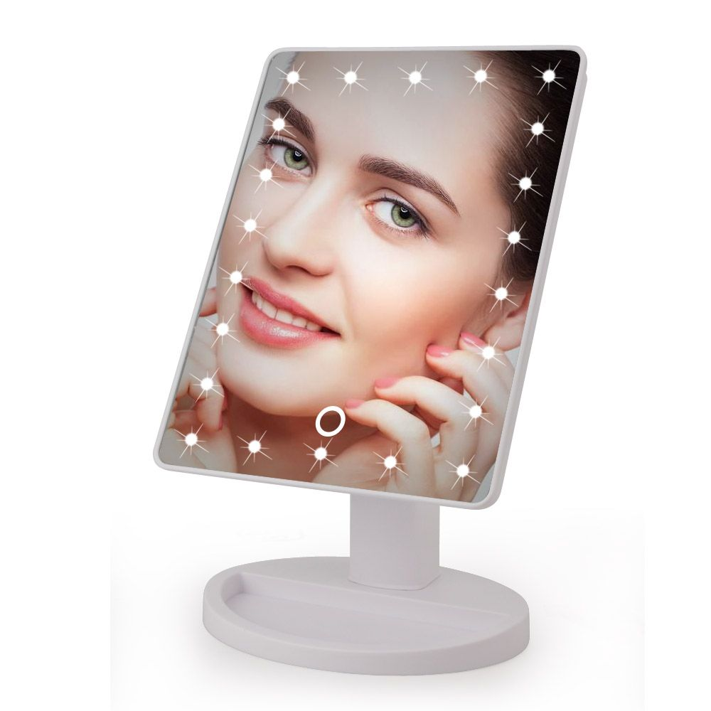 LED Touch Screen Makeup Mirror Professional Vanity Mirror With 16 LED Lights <font><b>Health</b></font> Beauty Adjustable Countertop 22 Led Rotating