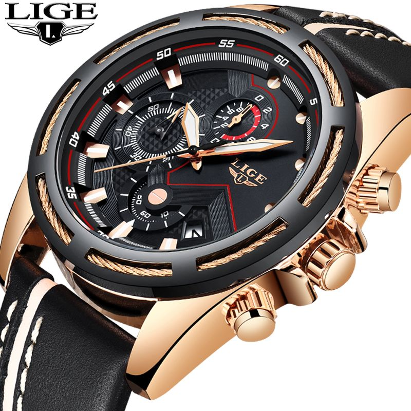 LIGE Mens Watches Top Brand Luxury Chronograph Leather Sport Watch Men's Military Waterproof Quartz Watch Male Relogio Masculino