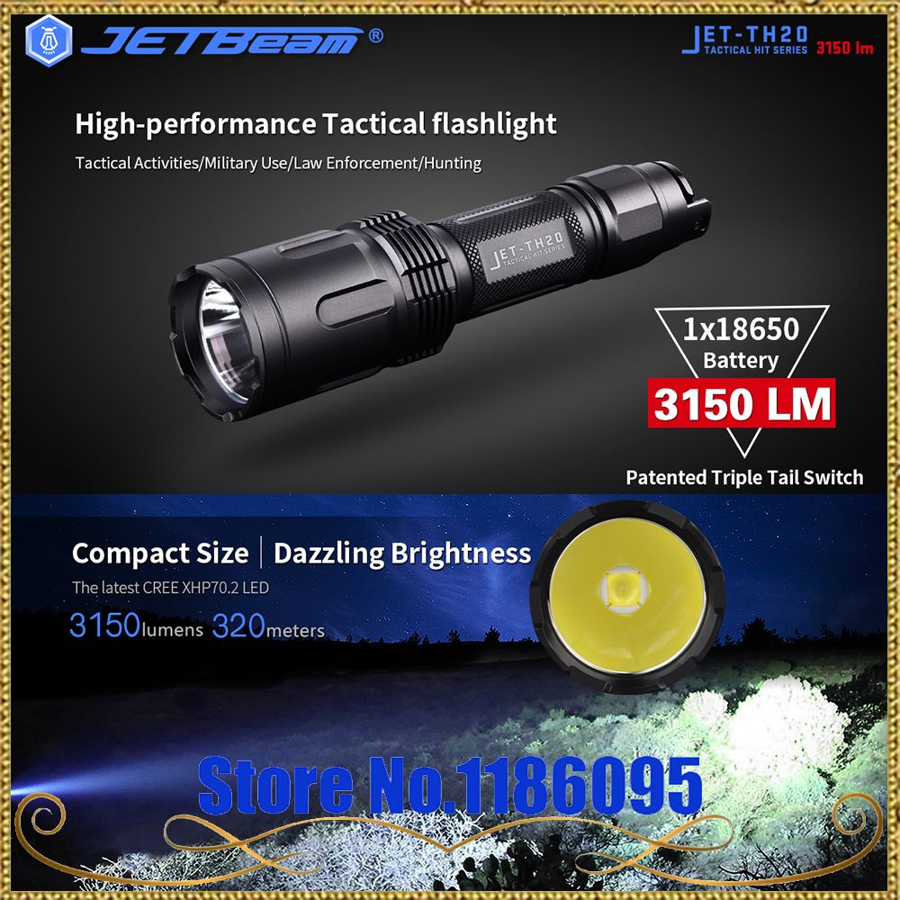 Newest Original JETBeam TH20 Tactical Flashlight CREE XHP70 LED 3150Lumen with 18650 Li-ion Battery (Orange Grain Cup)